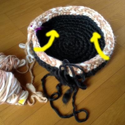 サイドを編み始めたら