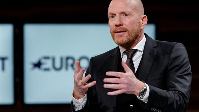 Matthias Sammer talks during a photocall at Eurosport studios