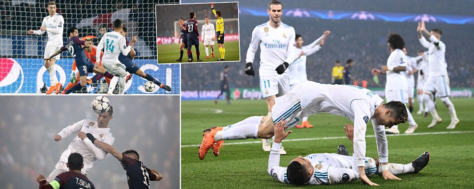 Ronaldo soars to send Real Madrid through to Champions League quarter-finals as PSG are dumped out after Verrattis silly red card