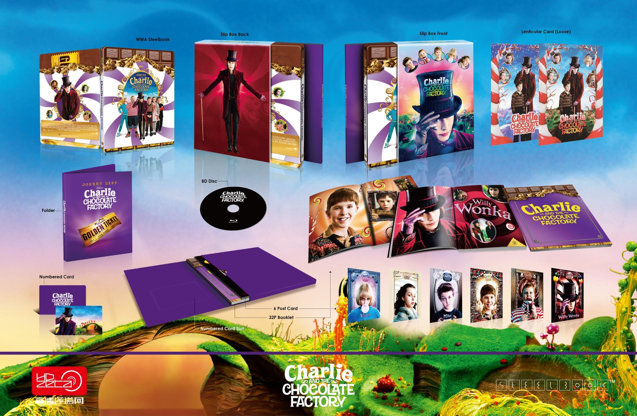 チャーリーとチョコレート工場 スチールブック Charlie and the Chocolate Factory HDZeta steelbook