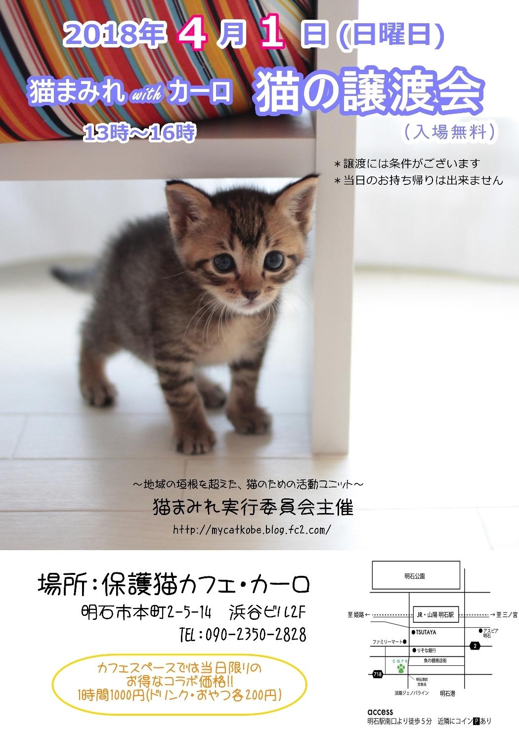 猫まみれ譲渡会ポスター4月(ブログ用)