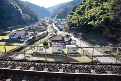 宇都井駅ホームからの眺め(2015年12月撮影)