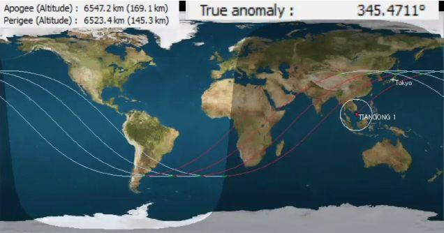 【LIVE】墜落寸前!中国の天宮1号の軌道予測を生中継