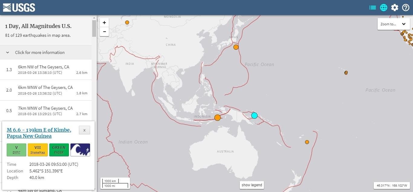 【USGS】パプア・ニューギニアで「M6.6」の地震発生