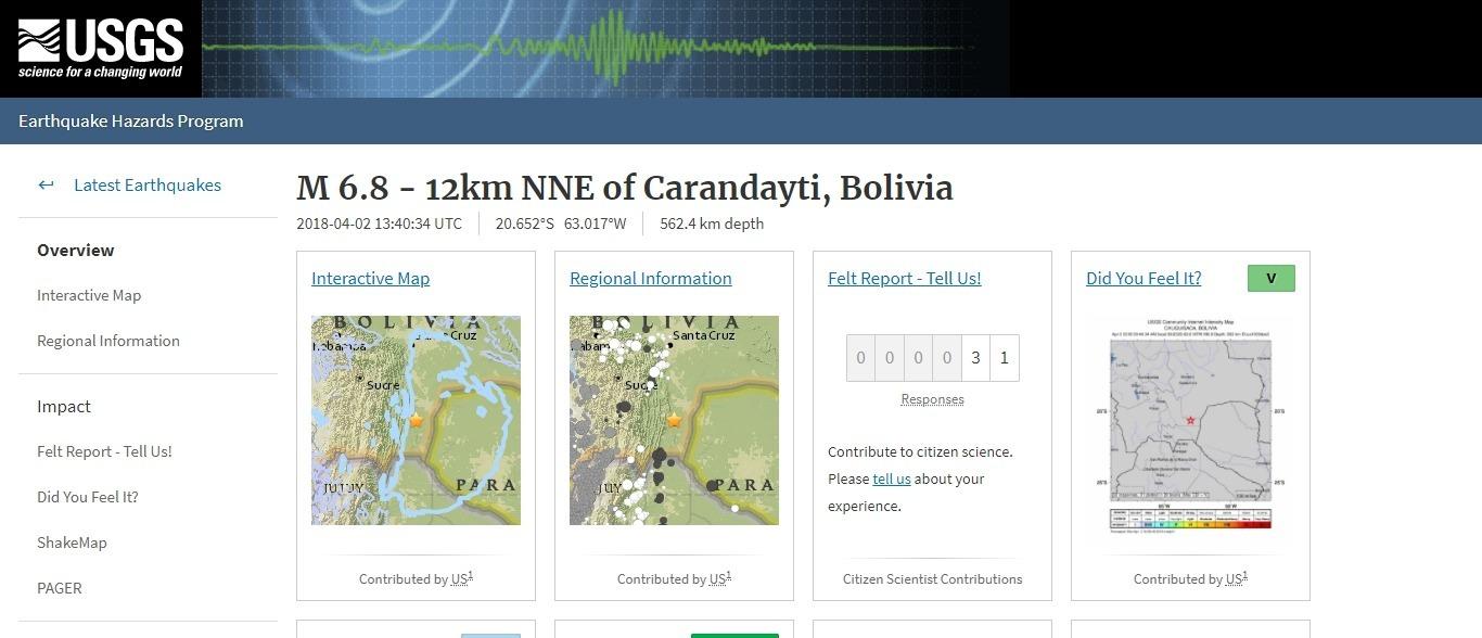 【深発地震】ボリビア南部で「M6.8」の地震発生 深さ約562km
