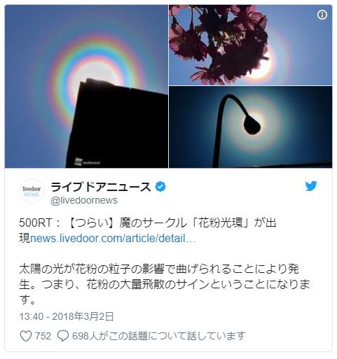 【千葉】太陽の周りに「虹の輪」が…正体は飛散した花粉か?