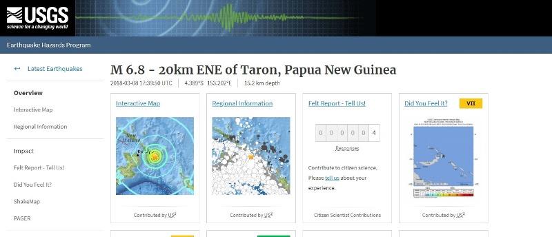 【環太平洋】パプアニューギニアで「M6.8」の地震が発生