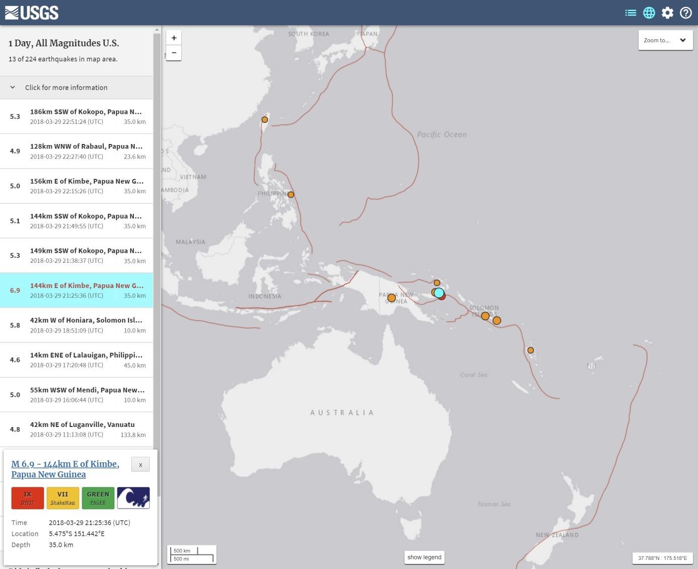 【海外】パプア・ニューギニアで「M6.9」の地震発生