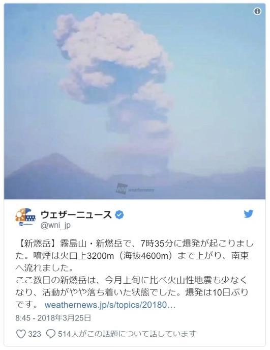 【気象庁】霧島山・新燃岳が噴火し「火砕流」が発生…火口の西側へ流れる