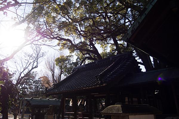 八幡社児子社社殿と太陽
