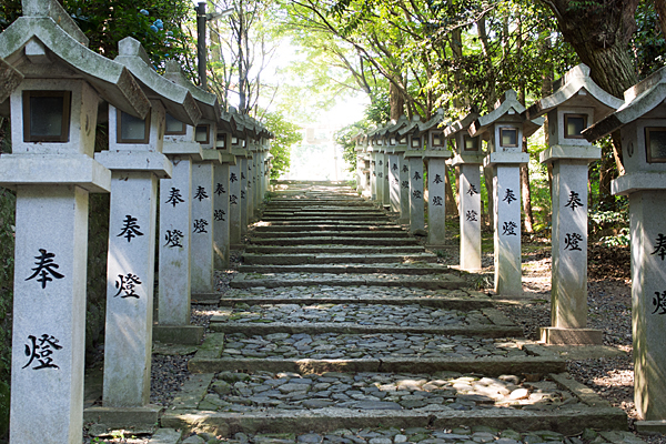 加佐登神社石段と灯籠