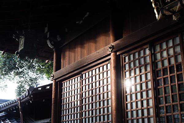 本土神社拝殿と光