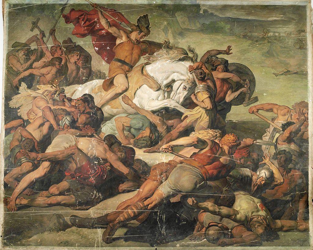 トイトブルク森の戦いで奮戦するアルミニウス