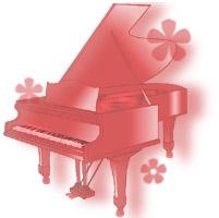 ピアノと花(紅色)