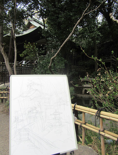 180316深大寺でスケッチ