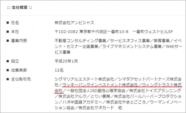 ラッキーバンク・インベストメント_ウィングトラスト社が併記
