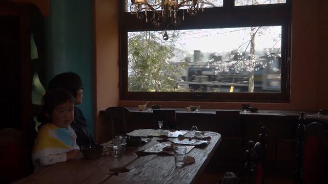 窓からはSLと桜が見える食堂カフェ樵