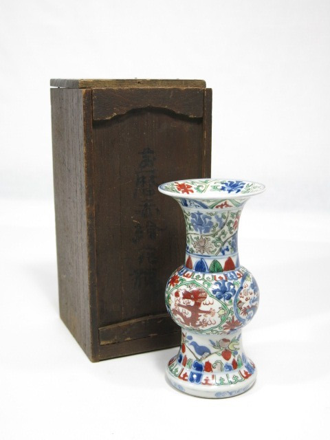 大明萬暦年製 五彩 色絵花入 中国美術