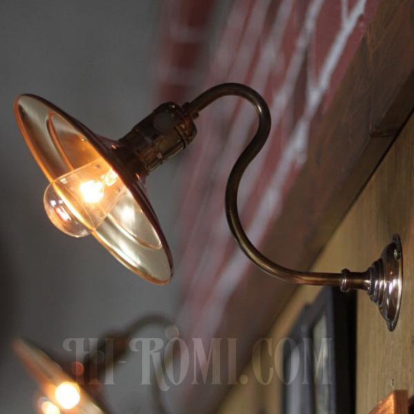 インダストリアル真鍮平皿シェードブラケットライト