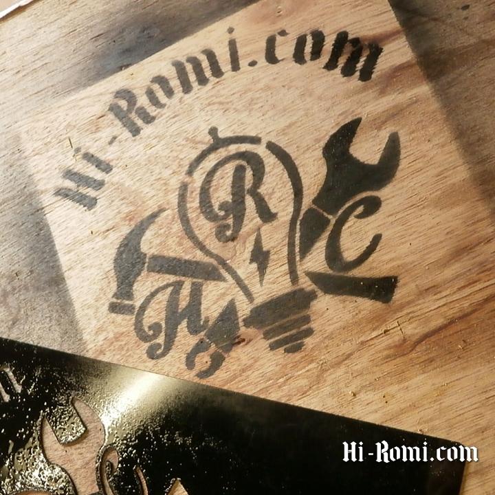 Hi-Romi.com(ハイロミ)のサインを ステンシルでスプレーしてみた。20180119