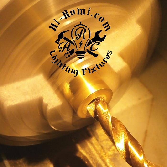 Hi-Romi.com(ハイロミドットコム) オリジナル照明用の真鍮パーツ製作中。20180122