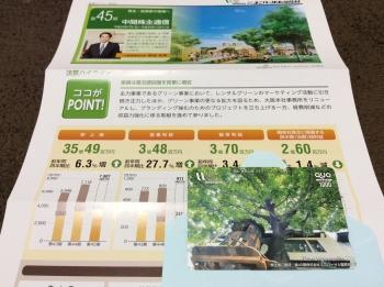 ユニバーサル園芸の株主優待QUOカード(2018年3月2日)