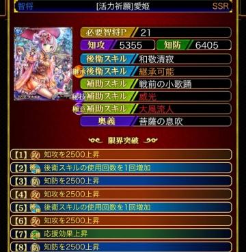[活力祈願]愛姫 SSR 智将P21 8頭