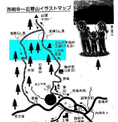 石尊山ルートマップ