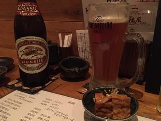瓶ビール(中瓶)・品川懸ビール生(ジョッキ)・お通し