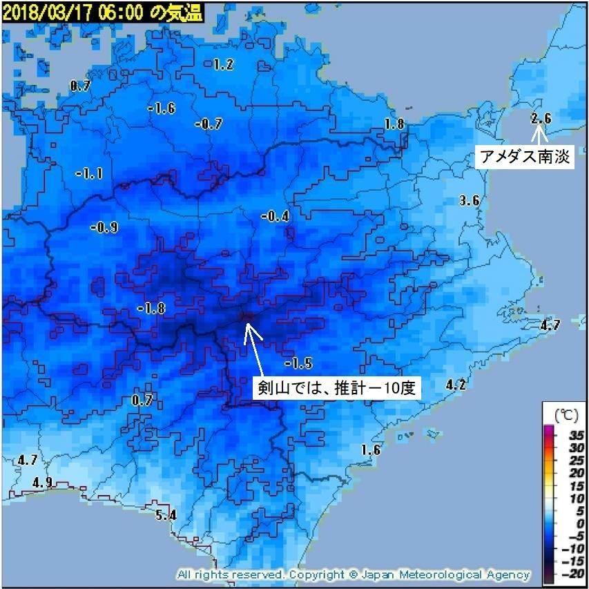 推計気象分布 徳島県・2018年3月17日06時気温