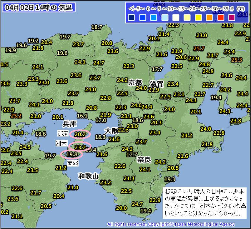 晴天の日中に、洲本の気温が異様に上がるようになった。