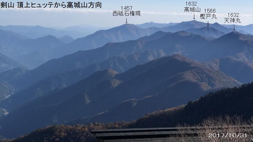 剣山から眺めた剣山地の主稜線