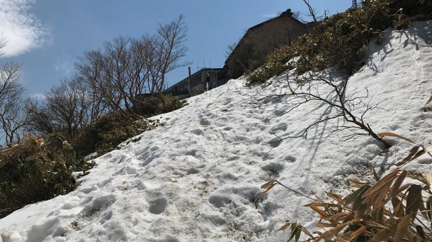 気温が上がって雪はシャーベット状