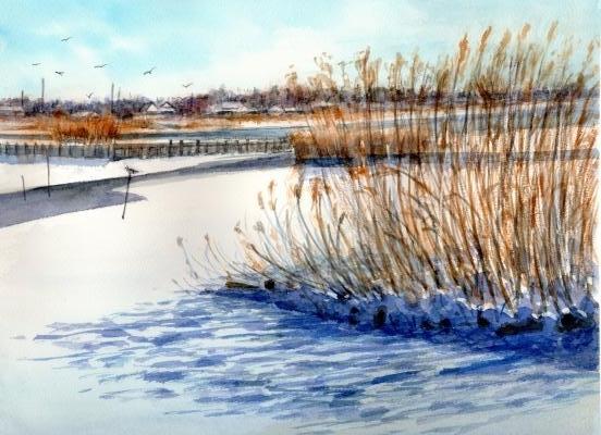 雪の伊佐沼