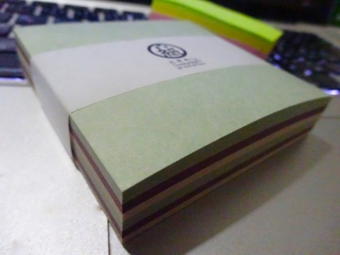 優しい色の土佐和紙、三色ブロックメモ[かたばみ]