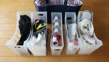 スポーツ用品の収納にファイルボックス