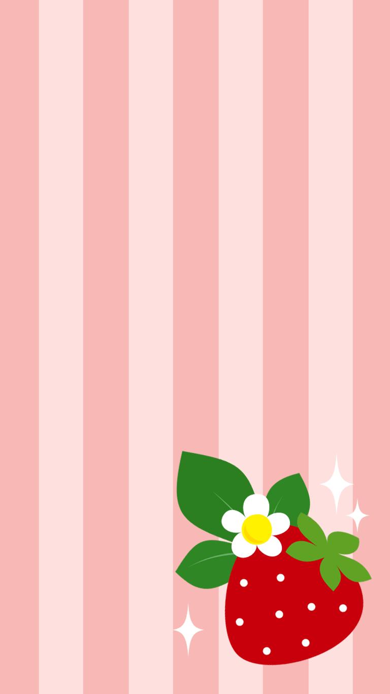 いちご 果物のイラスト壁紙 Spring Illustration