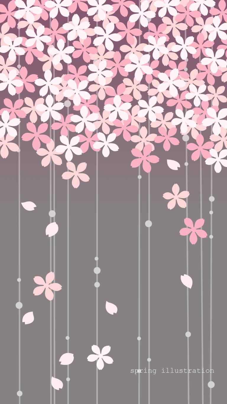 桜 花のイラスト壁紙 スマホ待受け Spring Illustration