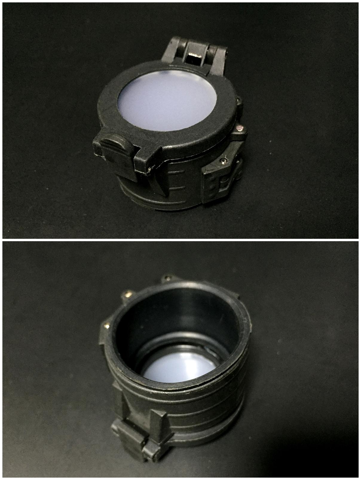 2 ELEMENT フラッシュライト ディフューザー フリップアップ式 カバー 1 47インチ 1 62インチ IRフィルター SUREFIRE タイプ レプリカ フラッシュライト カバー 比較 取付 加工 レビュー