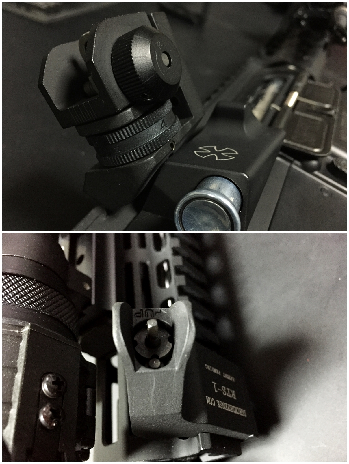 3 RAPID TRANSITION SIGHT FRONT & REAR DUECK DEFENSE TYPE ラピッドトランジションサイト オフセットサイト カスタム 取付 実物 レプリカ 比較