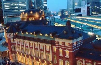 屋上からの東京駅です