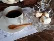 桃花のコーヒーとアイス