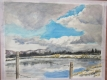 ため池と雲の絵