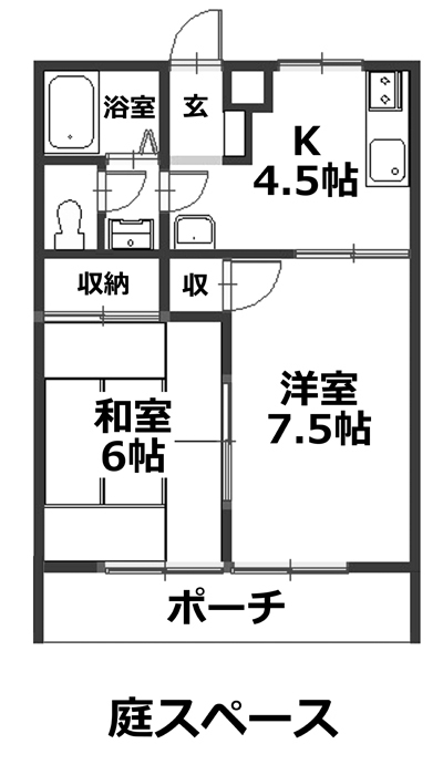 ■物件番号P5255 2Kマンションで1人暮らし!ペット可!憧れの東海岸南1!駅も海も歩ける!庭有り!