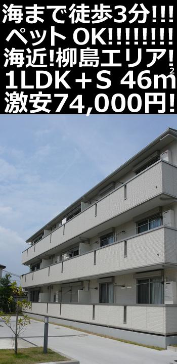 ■物件番号P5270 柳島エリア!海3分!ペット可!1LDK+S+WIC!オートロック!築浅キレイ!格安7.4万円!