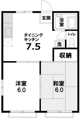 ■物件番号5297 海側!2DKで1人暮らし!海徒歩7分!南湖4丁目!エアコン付!家賃6万円!2階!