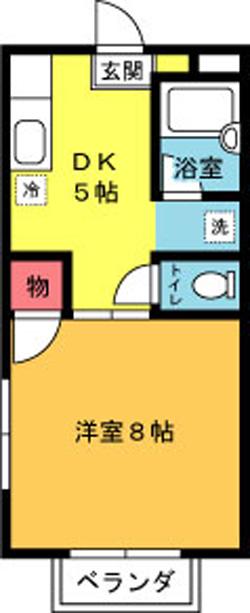 ■物件番号5298 屋根付ガレージ!1DKタイプ!最上階カド!日当り良好!洋室8帖!家賃5.5万円!
