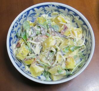 旬野菜料理 サツマイモと新タマネギとカイワレダイコンミックス
