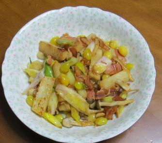 旬野菜料理 ナガイモとギンナンの炒め