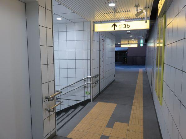 環状7号線から入って右側の通路を進むと階段があり、さらに奥まで通路が続いている。